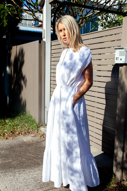 Lea Maxi Dress - White Linen Herringbone Weave