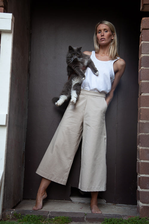 Romy Culottes - Oatmeal Stretch Cotton Twill