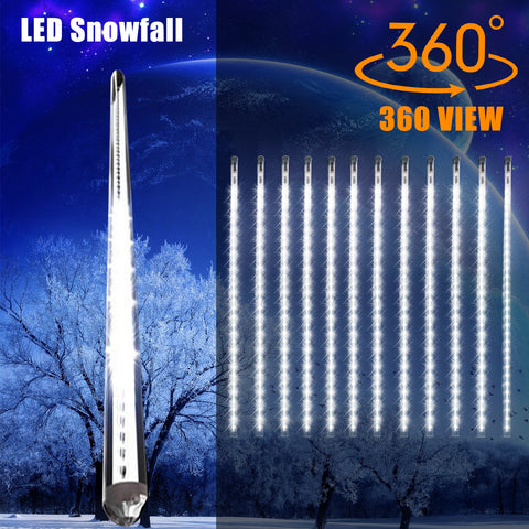 20 Inches Linkable Snow White LED Snowfall Lights Double Sided Waterproof Transformer 16ft Wire Extension Set of 12, Link up to 3 Sets of 12 Tubes