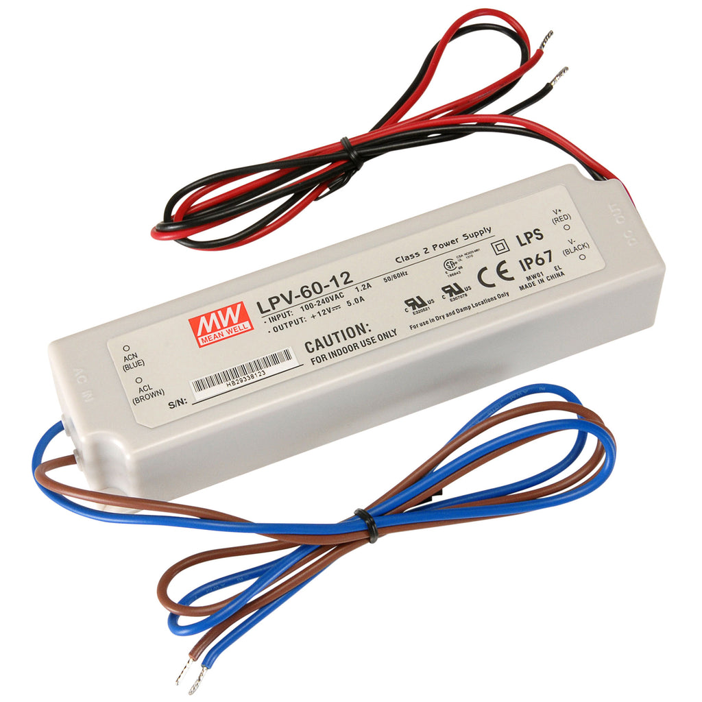 Meanwell Waterproof 60W LED Power Supply Low Voltage
