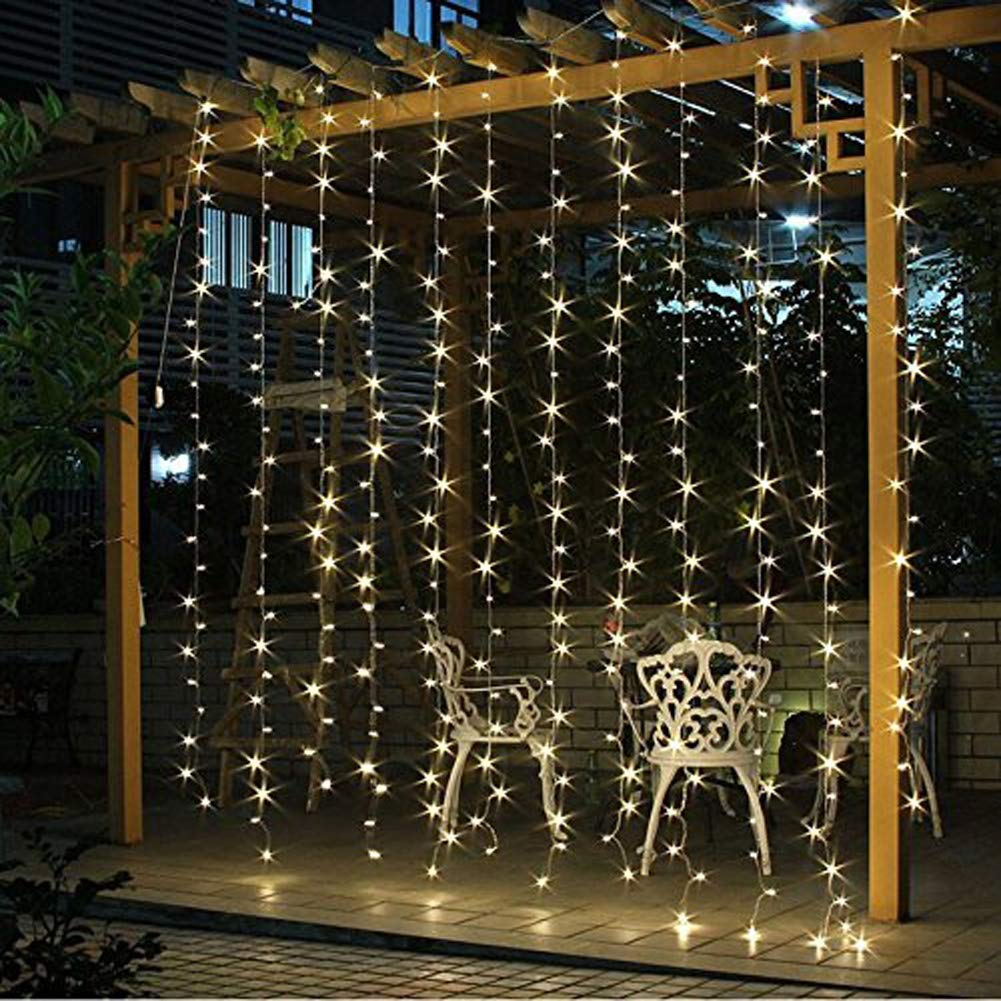 Warm White Window Curtain String Light Decorations, 300 LEDs