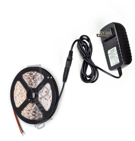 LED Strip Light 16Ft Single Color + 24W 12V Power Supply