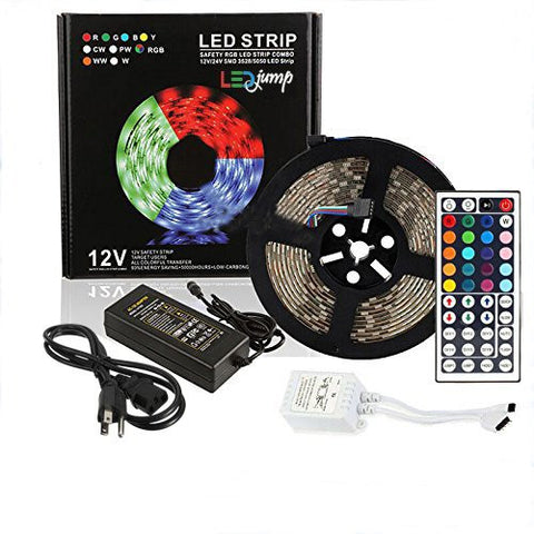 Waterproof RGB 300 Lights LED Strip Color Changes Flexible Strip Tape Lights Complete Set 16FT/5M SMD5050 Cuttable Linkable
