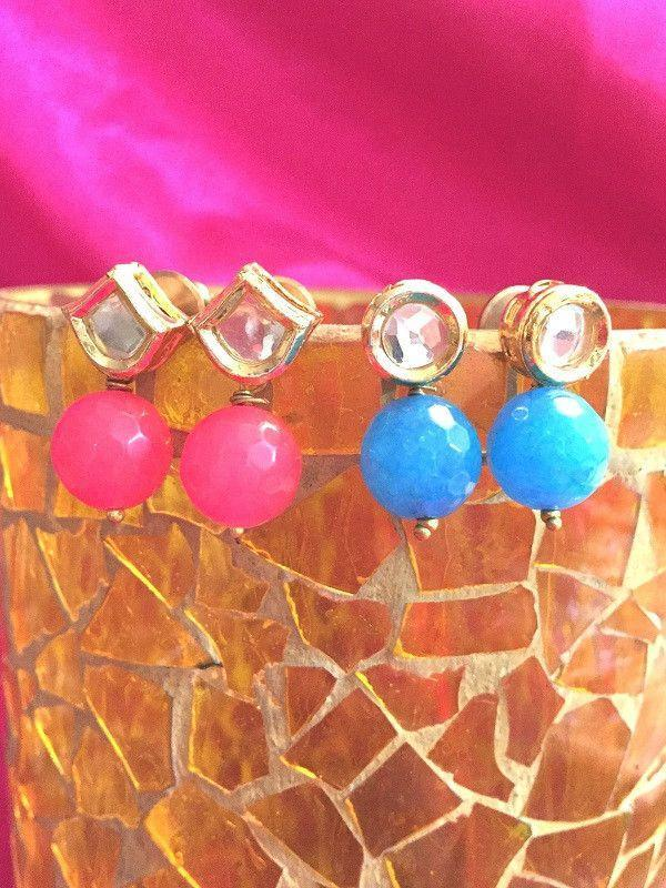 All That Glitters Jewelry Kundan earrings with coloured drops