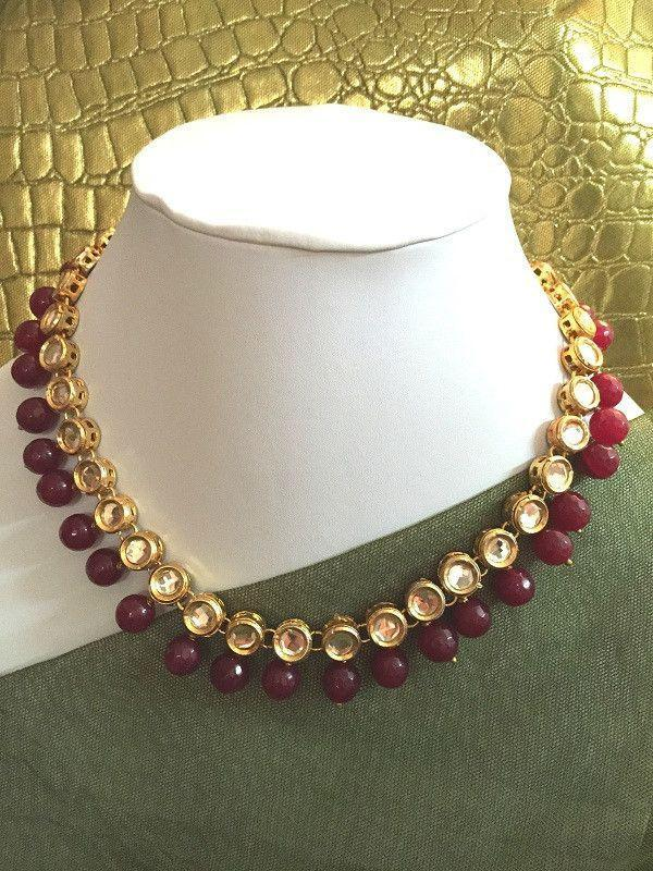 All That Glitters Jewelry Kundan string with red onyx