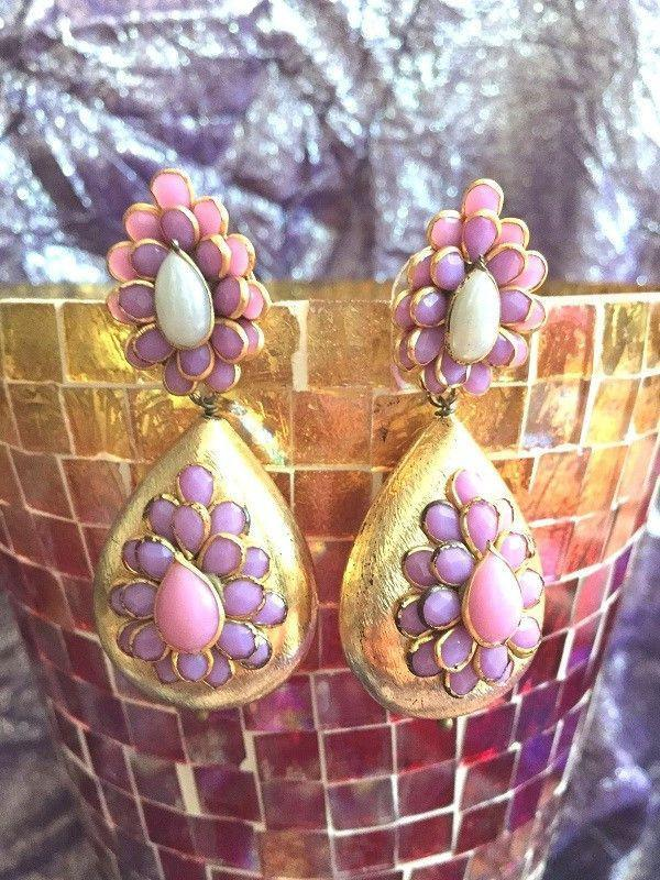 All That Glitters Jewelry Pachi  earrings - Purple and Pink Onyx with Kundan