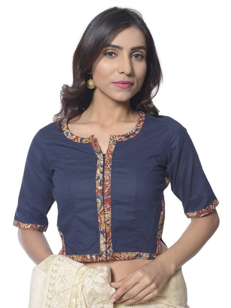 anokherang Blouse Navy Blue Side Kalamkari Blouse