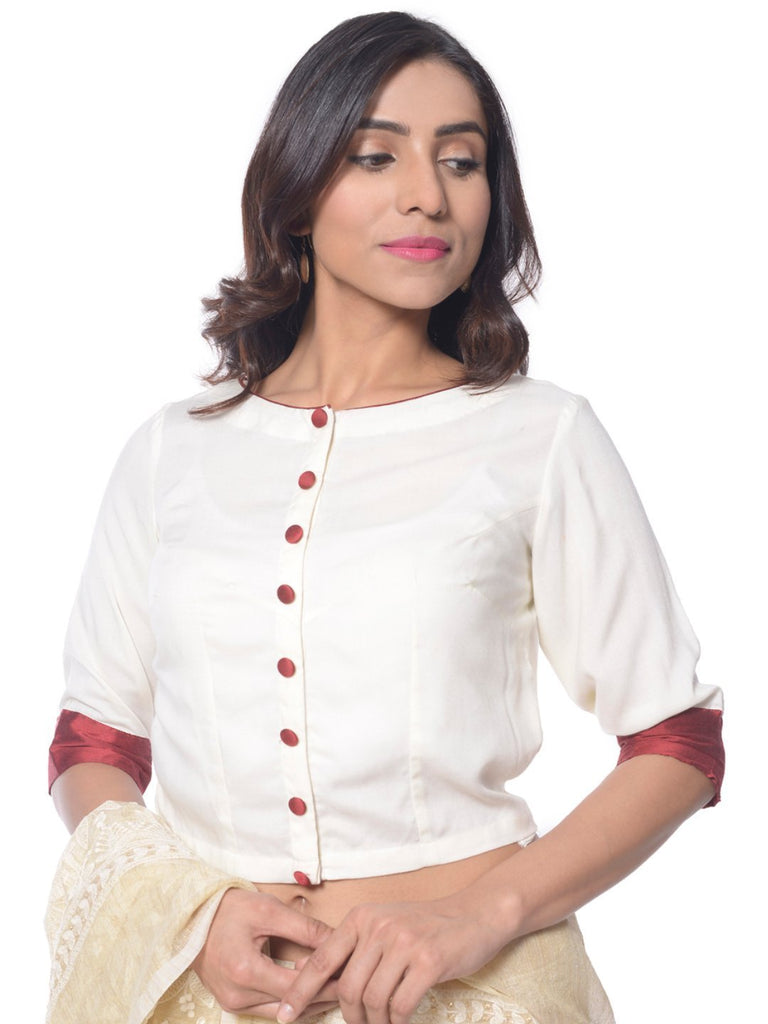 anokherang Blouse OffWhite Maroon Front Open Blouse