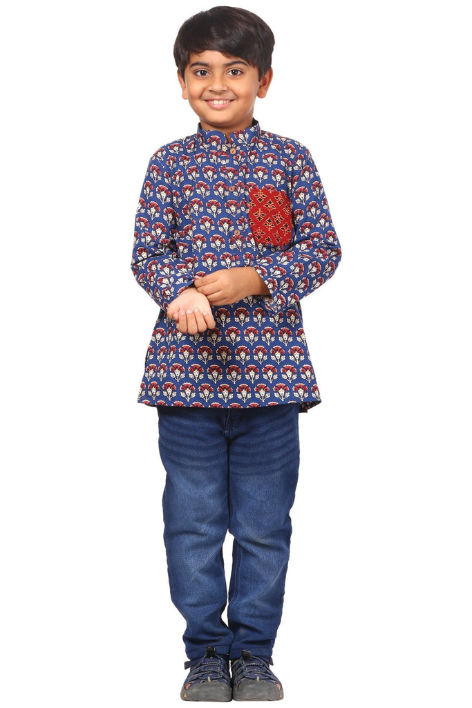 anokherang Boys Kurta Blue Floral Red Pocket Short Kurta