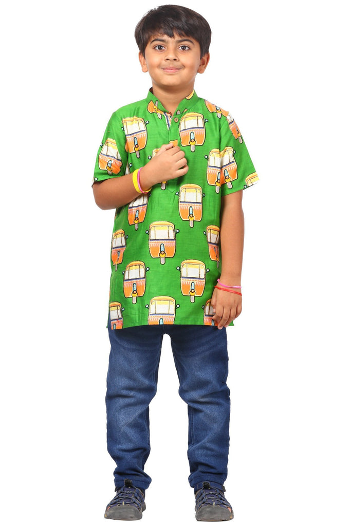 anokherang Boys Kurta Green Transport Short Kurta