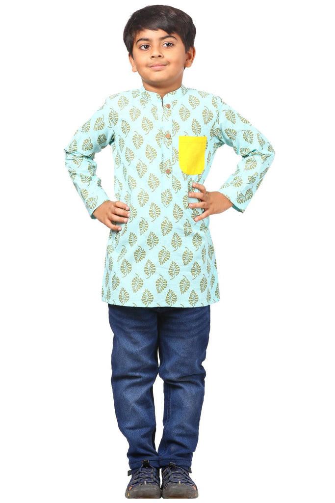 anokherang Boys Kurta Lime Blue Pocket Short Kurta