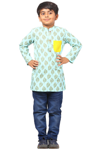 Lime Blue Pocket Short Kurta