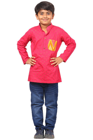 Pink Khadhi Pocket Short Kurta