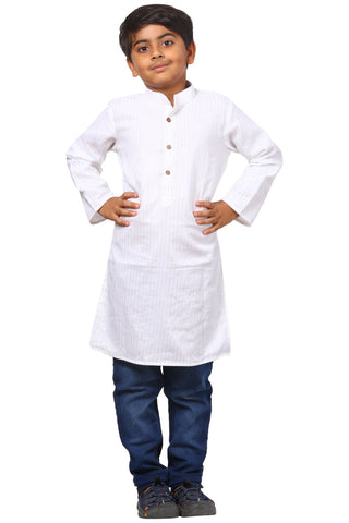 White Silver Lines Long Kurta