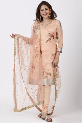 Apricot Printed Straight Kurti and Churidar with Net Sequins Dupatta