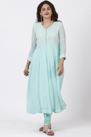 Aqua Blue Chikankari Anarkali with Churidaar