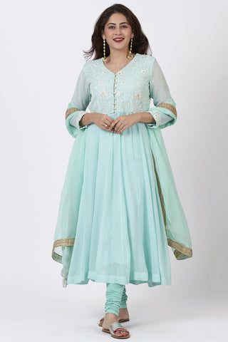 Aqua Blue Chikankari Anarkali with Churidaar and Chiffon Dupatta