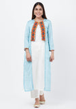 Arctic Blue Bandhani Jacket with Under Shirt and Pants