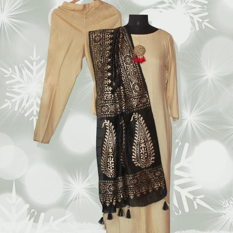 Autumn Grace Straight Kurti with Straight Pants and Black Gold Foil Paisley Dupatta