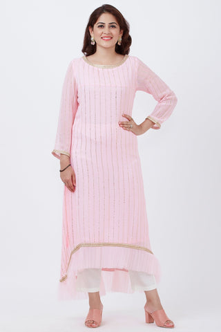 Baby Pink Foil Printed Pleated Asymmetrical Kurti with Straight Pants
