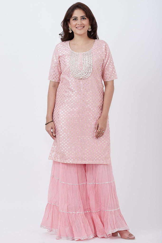 anokherang Combos Baby Pink Love Short Kurti with Crushed Sharara