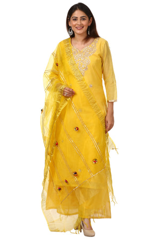 Basanti Gotta Work Kurti with Kalidaar Palazzo and Yellow Pom Pom Dupatta