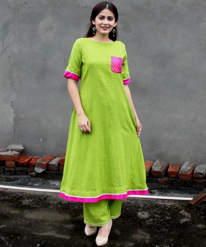 anokherang Combos Beautiful Green Pearl Kurti with Straight Palazzos