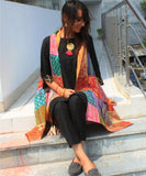 anokherang Combos Black Beauty Kurti and Pants with Kantha Reversible Jacket