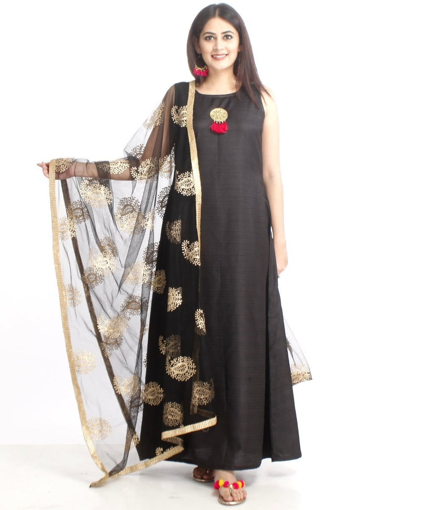 anokherang Combos Black Floor Length Silk Kurti with Black Net Embroidered Dupatta