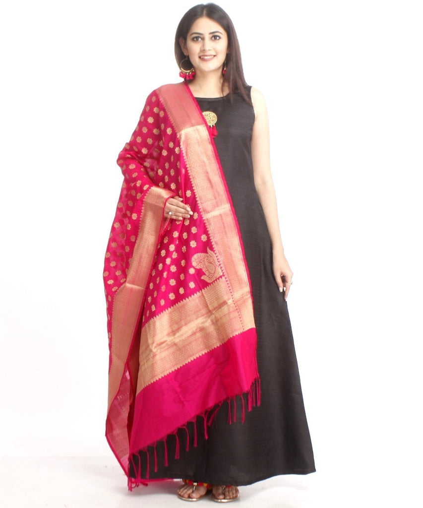 anokherang Combos Black Floor Length Silk Kurti with Pink Banarsi Dupatta