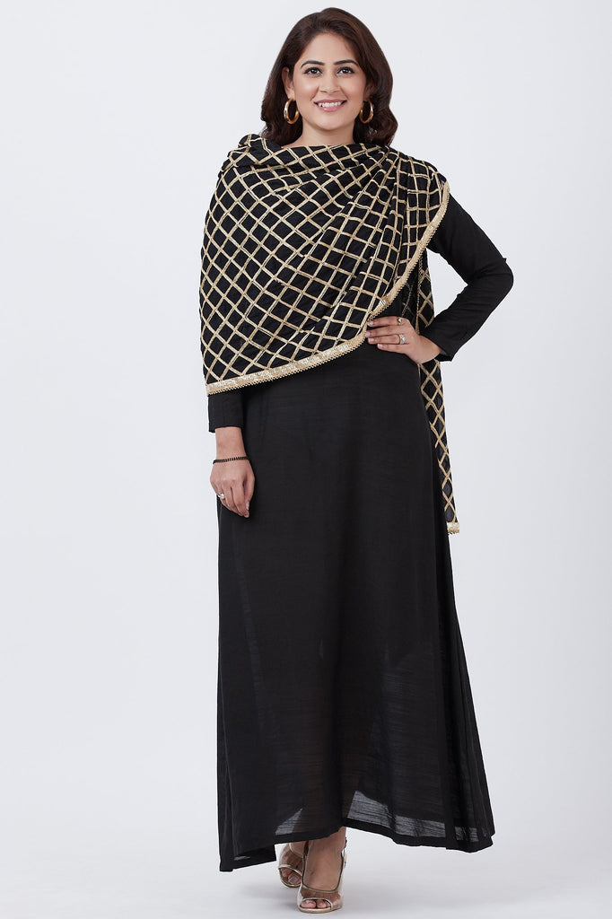 anokherang Combos Black Floorlength Kurti with Attached Dupatta