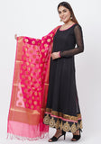 Black Georgette Embroidered Border Anarkali with Churidaar and Pink Banarsi Dupatta