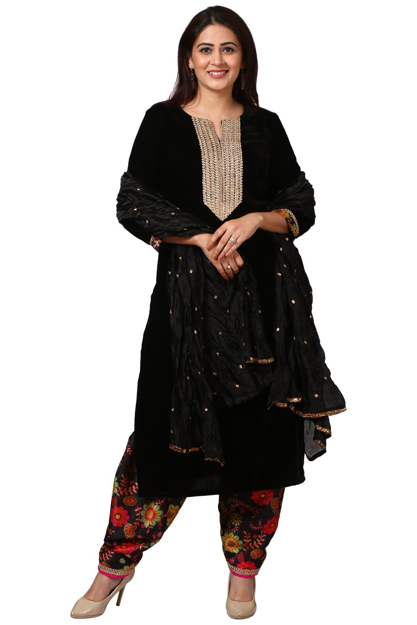 ab84075a97 Home > Products > Black Gold Velvet Kurti with Floral Printed Salwar and  Black Crushed Dupatta. anokherang ...