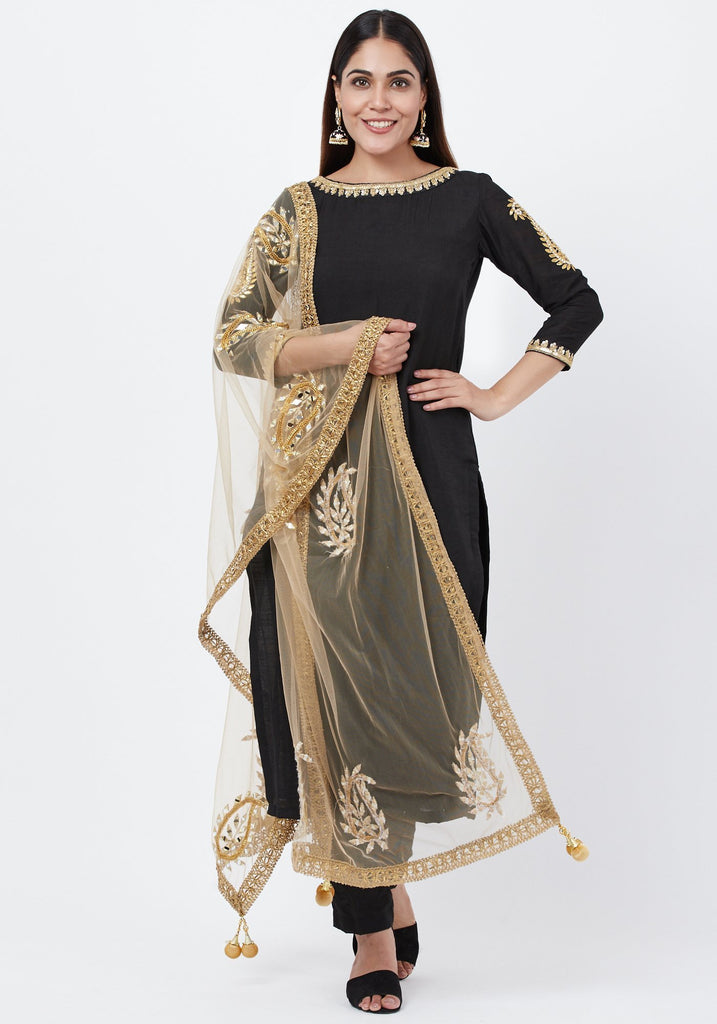 anokherang Combos Black Gotta Paisley Embroidered Kurti with Straight Pants and Paisley Dupatta