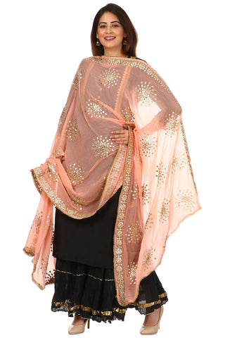Black Jacket Style Kurti with Crushed Gotta Gathered Sharara and Peach Gotta Patti Chiffon Dupatta
