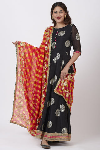 Black Jewel Foil Printed Floor Length Kurti and Pink Red Yellow Mothra Gotta work Dupatta