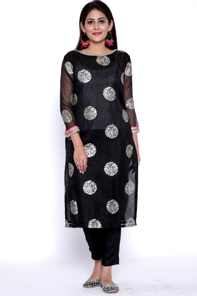 anokherang Combos Black Jewel Kurti with Boat Neck and Straight Pants