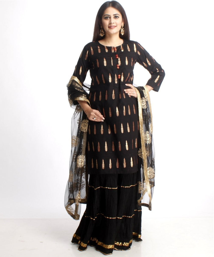 anokherang Combos Black Red Love Short Kurti with Gathered Black Sharara and Black Net Embroidered Dupatta