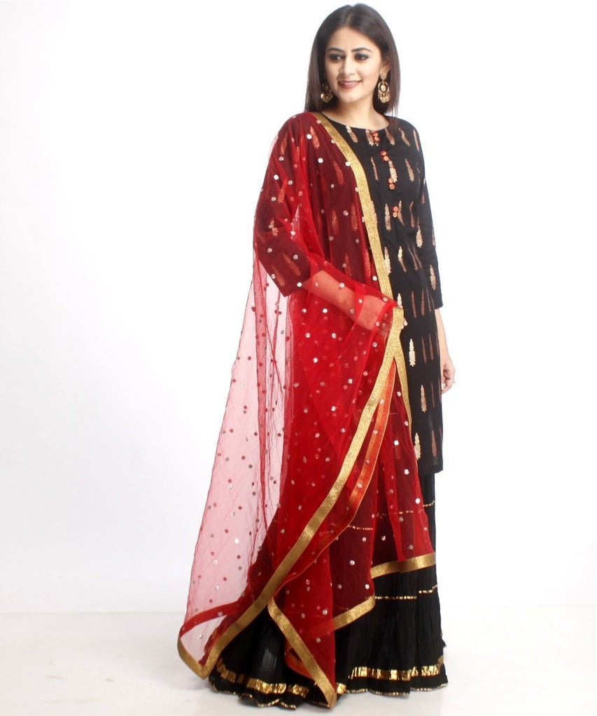 anokherang Combos Black Red Love Short Kurti with Gathered Black Sharara and Red Sequenced Dupatta