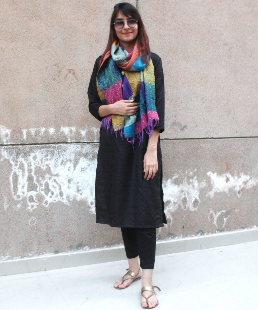 anokherang Combos Black Silk Kurti with Straight Pants and Kantha Patch Work Stole