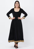 Black Velvet Border Anarkali with Churidar