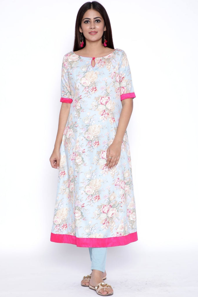 anokherang Combos Blue Floral Printed ALine Kurti with Leggings
