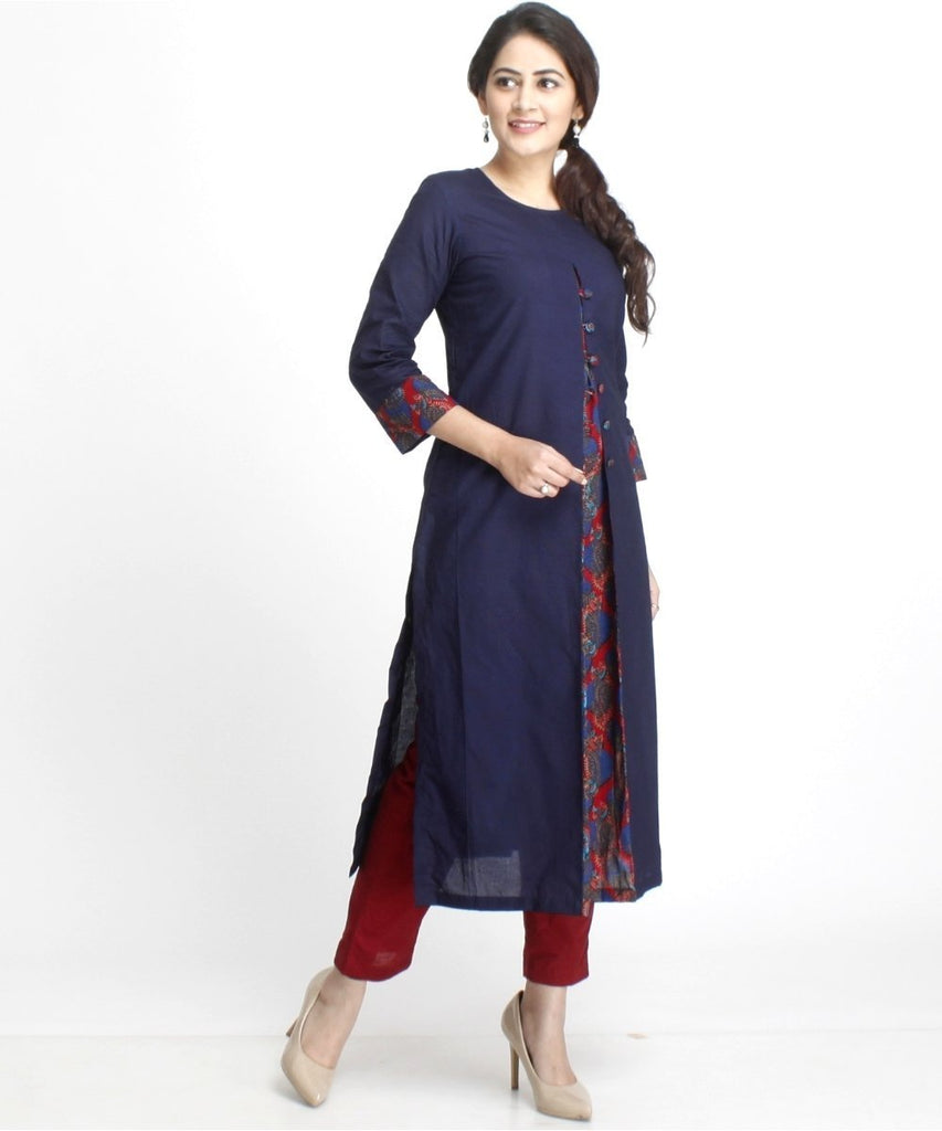 anokherang Combos Blue Front Printed Pleat Kurti with Buttons and Straight Pants