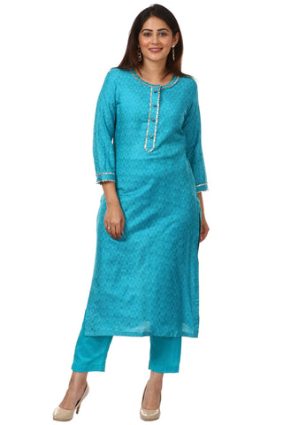 Blue Gotta Work Kurti with Straight Pants