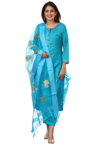 Blue Gotta Work Kurti with Straight Pants and Blue Embroidered Dupatta