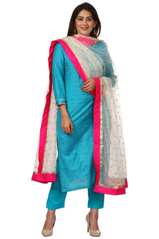 Blue Gotta Work Kurti with Straight Pants and Off-White Net Sequenced Dupatta