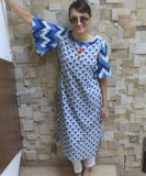anokherang Combos Blue Parrot Straight Kurti with Straight Pants
