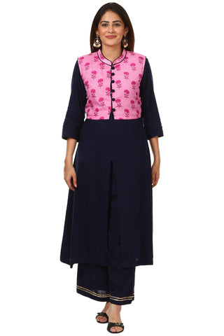 Blue Rayon Front Slit Kurti with Floral Jacket and Straight Palazzo
