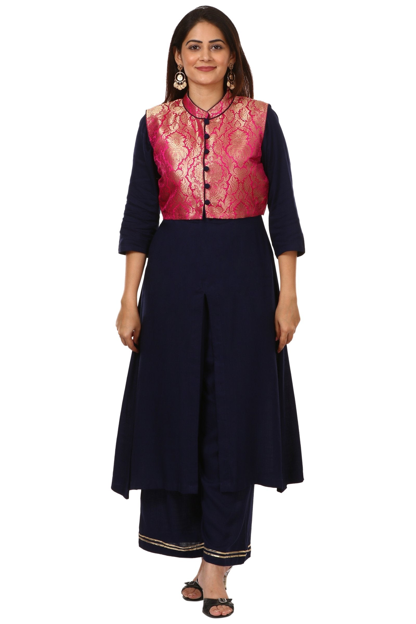 e1e4803787 Home > Products > Blue Rayon Front Slit Kurti with Pink Jacket and Straight  Palazzo