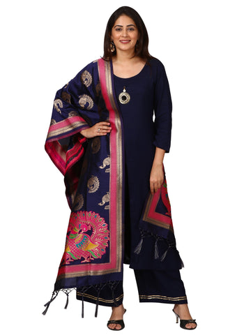 Blue Rayon Front Slit Kurti with Straight Palazzo and Elephant Embroidered Stole